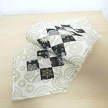 Úžitkový textil - Vianočná štola krémovočierna - 10066350_