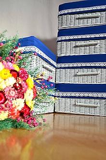 Košíky - Šedý box  s košieľkou midnight blue / ks - 10067845_