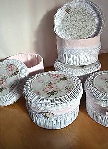 Košíky - Okrúhly kozmetický  box s perleťou a madeirou / 1 ks na sklade - 10068186_
