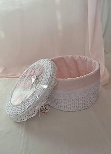 Košíky - Okrúhly kozmetický  box s perleťou a madeirou / 1 ks na sklade - 10068190_