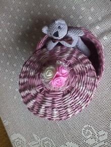 Košíky - Ružový košík s vrchnákom - 10070084_