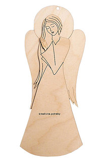 Polotovary - Drevená anjelka vzor 3D 4/40cm - 10066485_