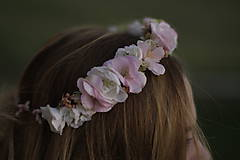 Ozdoby do vlasov - Venček bledo ružový - 10074349_