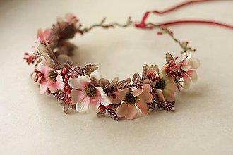 Ozdoby do vlasov - Venček ružovo jesenný - 10074452_