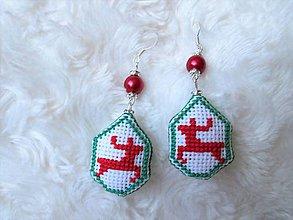 Náušnice - Vianočné jelienčoky - 10070967_