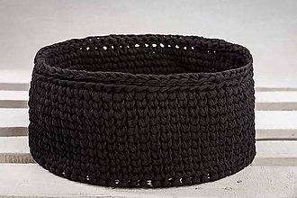 Košíky - Košik s dreveným základom (Čierna) - 10074008_