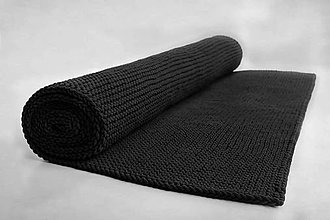 Úžitkový textil - Veľký pletený koberec (Čierna, výška 7mm) - 10074087_