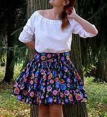 Sukne - Sukienka Krojové kvety na čiernej - 10075110_