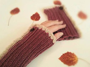 Rukavice - Návleky na ruky bordó - 100% merino - 10073538_