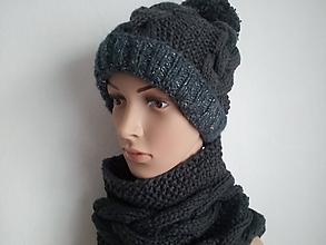 Čiapky - pletený set šedo strieborný - 10071518_