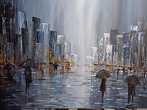 Obrazy - Rainy evening...daždivé námestie - 10072685_