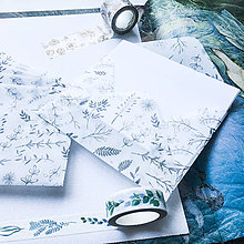 Papier - polopriehľadná papierová obálka Čiernobiely herbár - 10071500_