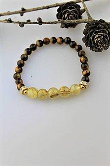 Náramky - venušine vlasy náramok s tigrím okom luxusný - 10073139_