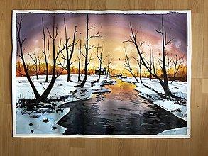 Obrazy - Origináolny obraz - Zimnou krajinou - 10072065_