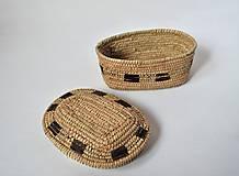 Krabičky - Rustic - Kožený pletený košík - 10071250_