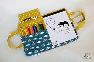 Detské tašky - Detský kufrík - pastelkovník Na mori (horčicové) - 10074511_