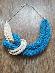 Náhrdelníky - Háčkovaný náhrdelník - námornícky - 10075241_