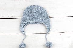 Detské čiapky - Modrá ušianka zimná EXCLUSIVE FINE - 10072319_