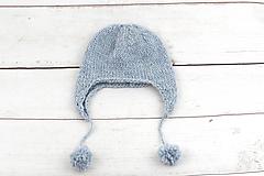 Detské čiapky - Modrá ušianka zimná EXCLUSIVE FINE - 10072320_