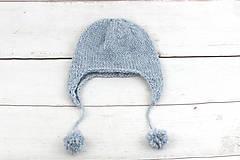 Detské čiapky - Modrá ušianka zimná EXCLUSIVE FINE - 10072321_