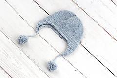 Detské čiapky - Modrá ušianka zimná EXCLUSIVE FINE - 10072323_