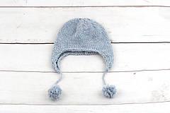 Detské čiapky - Modrá ušianka zimná EXCLUSIVE FINE - 10072324_