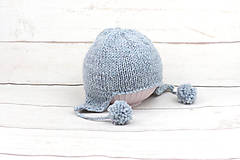 Detské čiapky - Modrá ušianka zimná EXCLUSIVE FINE - 10072449_