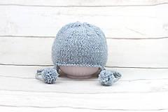 Detské čiapky - Modrá ušianka zimná EXCLUSIVE FINE - 10072450_
