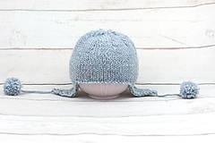 Detské čiapky - Modrá ušianka zimná EXCLUSIVE FINE - 10072451_