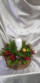 Veľká prírodná jesenná - vianočná dekorácia so sviečkou