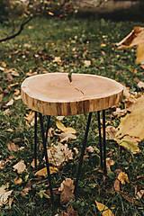 Nábytok - Kruhový konferenčný stolík s čiernymi hairpin nožičkami - 10071584_