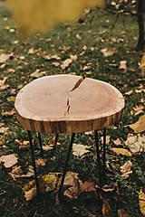 Nábytok - Kruhový konferenčný stolík s čiernymi hairpin nožičkami - 10071586_