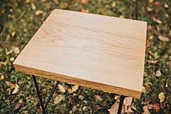 Nábytok - Štvorcový konferenčný stolík s čiernymi hairpin nožičkami - 10071674_