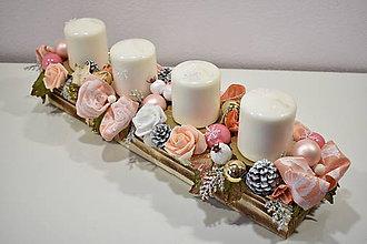 Svietidlá a sviečky - Adventný svietnik: Ružové Vianoce 40407 - 10074044_