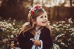 Ozdoby do vlasov - Nežná kvetinová čelenka s parožkami - 10070576_