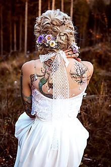 Ozdoby do vlasov - Fialový kvetinový hrebienok - 10070579_