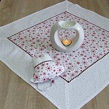 Úžitkový textil - Strieborno vínová elegancia na bielej - obrus štvorec 60x60 - 10071910_