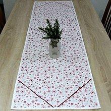 Úžitkový textil - Strieborno vínová elegancia na bielej - stredový obrus 140x40 - 10073780_