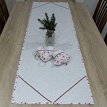 Úžitkový textil - Strieborno vínová elegancia na bielej (2) - stredový obrus 140x40 - 10074404_