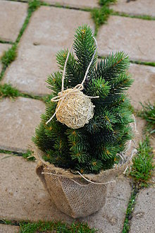 Dekorácie - Ozdoby na stromček - prírodné hoblinové gule sada 3 ks - 10073140_