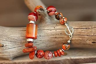 Náramky - Bohemian náramok z mixu minerálov - orange - 10074171_