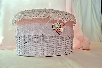 Košíky - Okrúhly kozmetický  box s perleťou a madeirou - 10073132_
