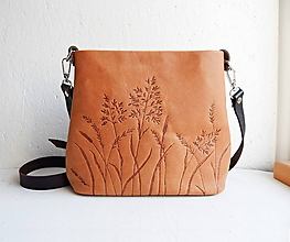 "Kabelky - MILA ""Grass"" kožená kabelka s vypaľovaným obrázkom - 10075231_"