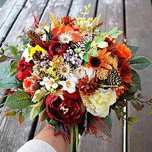 Kytice pre nevestu - Svadobná kytica pre nevestu veľká jesenná v boho štýle - 10078714_