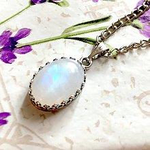 Náhrdelníky - Moonstone & Antique Silver Necklace / Náhrdelník s mesačným kameňom v starostriebornom prevedení /1101 - 10076762_