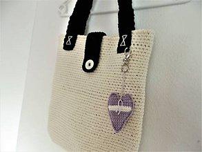 Veľké tašky - Taška black red white s podšívkou + kľúčenka - 10076034_