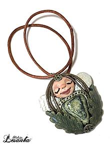 Náhrdelníky - ♥ Vílí amulet s kameňom serpentín♥ - 10079709_