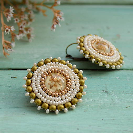 Sparkly earrings n.7 - vyšívané náušnice