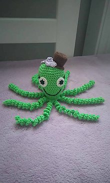 Hračky - Chobotnička s klobúčikom - zelená - 10078327_