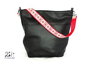 Iné tašky - Folk popruh na kabelku šírky 4 cm (Červený popruh s vyšívanou stuhou) - 10080100_